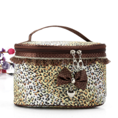 HX Cylinder cosmetic bag polka dot lace cosmetic bag Little leopard f