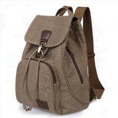 HX Large capacity high-end vintage canvas backpack bag shoulder bag grey f