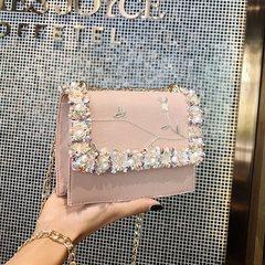 HX fashion delicate lace beaded wild twill chain shoulder bag pink f