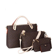 HX 4PCS  fishbone pattern luxury fashion waterproof mother bag handbag shoulder bag diagonal packag brown f
