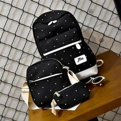 HX 3PCS simple casual large capacity canvas backpack student travel bag Black spot f