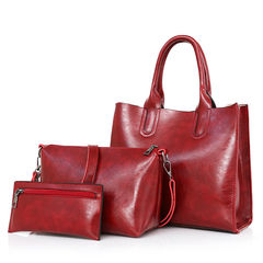 3pcs spring trend wild fashion female bag Korean version of the handbag shoulder bag shoulder bag red wine f