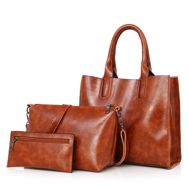 HX 3PCS stylish exquisite large capacity solid color shoulder bag brown f
