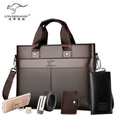 5PCS Lingzhi Kangaroo Men's Briefcase Portable Business Bag Shoulder Fashion Backpack brown f