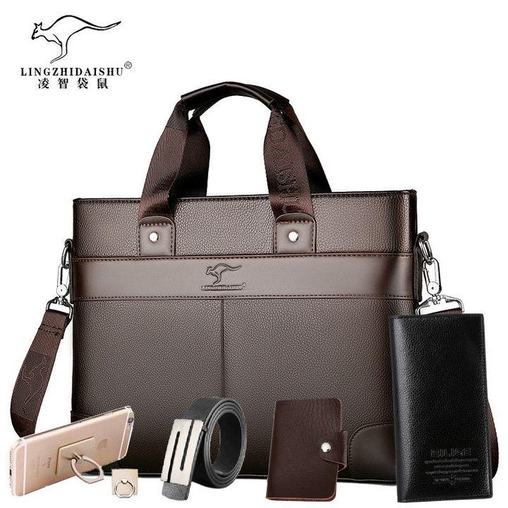 5PCS Lingzhi Kangaroo Men's Briefcase Portable Business Bag Shoulder Fashion Backpack brown f
