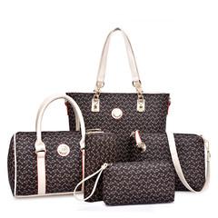 HX 6PCS fishbone pattern luxury fashion waterproof bag handbag shoulder bag diagonal package brown f