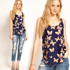 HX March promotion sweet butterfly print chiffon shirt top ladies sleeveless round neck vest a1 S