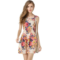HX fashion women's chiffon print round neck sleeveless dress extended party dress l a1