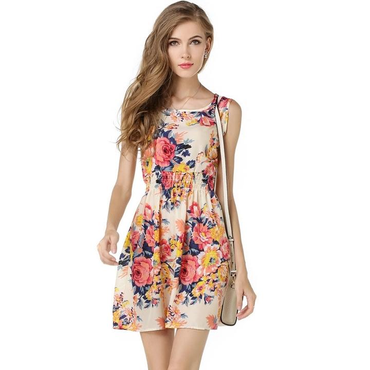 HX fashion women's chiffon print round neck sleeveless dress extended party dress l a1