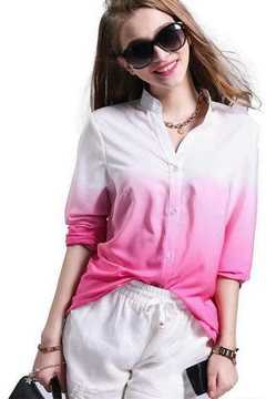 Autumn Chiffon Gradient Long Sleeve Shirt Casual Shirt Women a2 s