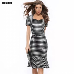 Houndstooth Slim Pack Hip Fishtail Evening Dress Dress Pencil Skirt Send Belt 3xl a1