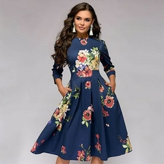 Women's A-line dress Party retro small floral cropped sleeves round neck dress xl a3