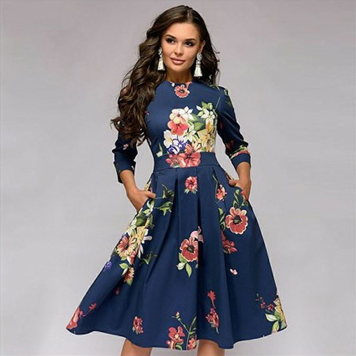 HX Women's A-line dress party retro small floral seven-point sleeves round neck dress long skirt xl a3