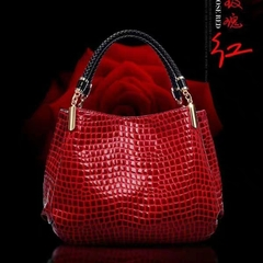 HX fashion solid color crocodile leather handbag shoulder bag ladies bag red wine f HX leather