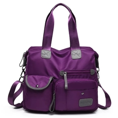 Nylon cloth large capacity handbag waterproof handbag fashion single shoulder diagonal package purple color f hx Nylon
