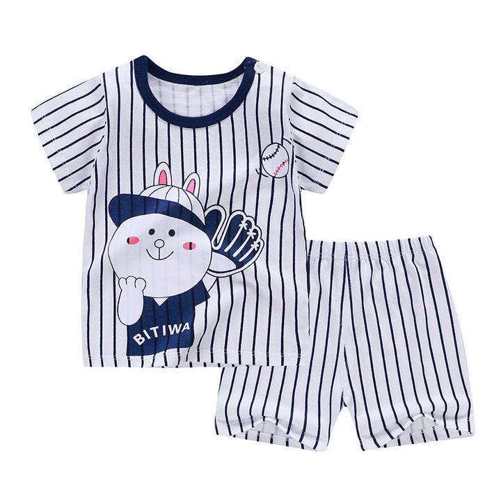 HX 2 Summer Children's Short Sleeve Set Cotton Sweat Clothes Boys Girls T-Shirt Set A2 73CM Cotton