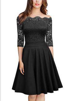 Women's Wholesale Quality Europe and America Solid Color Lace Side Words Shoulder Sleeve Slim Dress s black