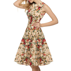 Summer retro Hepburn style sexy sleeveless print midi dress big swing dress xxl a2