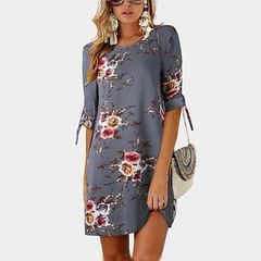 European and American summer chiffon women's printed round neck cropped sleeve dress s a1