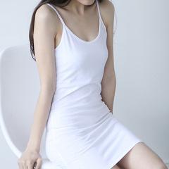 High quality cotton long suspenders vest bottoming skirt sexy slim bag hip inner skirt One size white