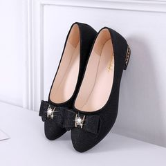 HX Spring wild peas shoes shallow mouth low heel flat bow pointed shoes black(Mail without shoe box) 35