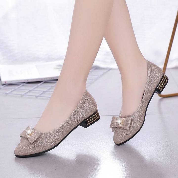HX Spring wild peas shoes shallow mouth low heel flat bow pointed shoes gold (Mail with shoe box) 35