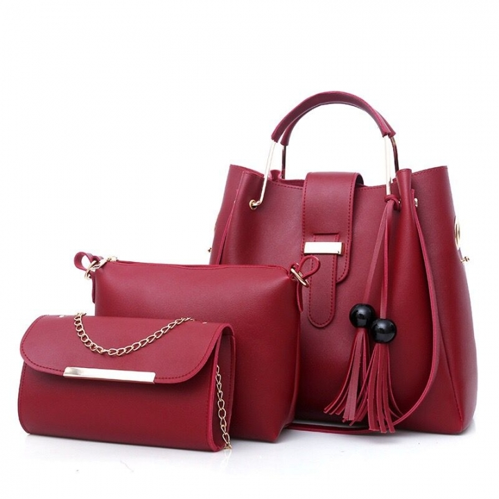 HX 3PCS May promotion Large Capacity Leather Solid Color Fringed Cross Shoulder Ladies Handbag Red wine f