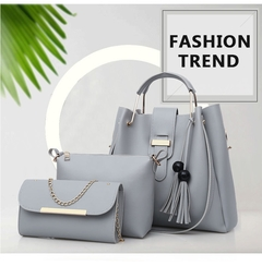 HX 3PCS large capacity durable leather solid color tassel cross shoulder ladies handbag grey f