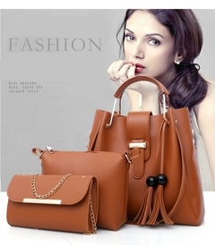 HX 3PCS large capacity durable leather solid color tassel cross shoulder ladies handbag Brown f