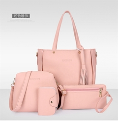 HX 4pcs leather ladies diagonal bag handbag solid color female tassel fashion shoulder bag wallet pink f