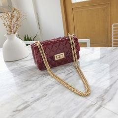 Summer jelly package 2019 new Korean version of the tide mini rhombic chain handbags Messenger bag red wine f