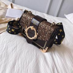 HX Personality versatile slung shoulder fashion sequins broadband small square bag khaki f