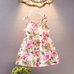 HX 2019 girls sleeveless comfortable cotton dress ocean sling beach skirt pink M(100-110cm)