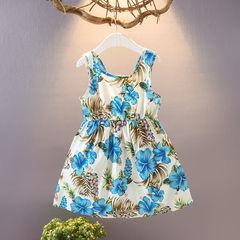 HX  girls sleeveless comfortable cotton dress ocean sling beach skirt blue L(110-120CM)