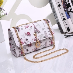 HX 2019 PU new one-shoulder fashion printing wild Messenger bag chain bag a1 f