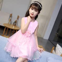 2019 girls dress children's pettiskirt big children's sleeveless lace summer princess dress pink 110(Recommended height 90-100cm)