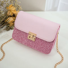 HX Exquisite fashion sequins small square bag chain shoulder diagonal fairy bag pink f