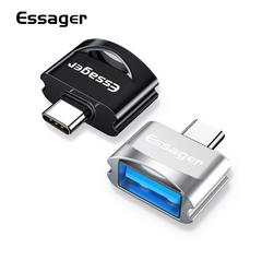 Essager USB type-C OTG adapter for huawei Xiaomi with USB connector typeC-C to USB 3.0 OTG converter BLACK type-C lightspeed