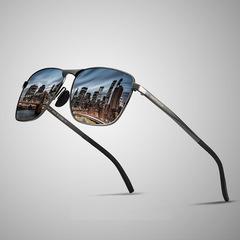 Men's Polarized sunglasses square full Frame sunglasses gray/gray average size