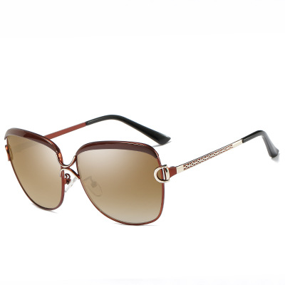 Cat's eye ladies` sunglasses, gradient polarized ladies' sunglasses ,5 colors ON SALE! brown frame/tea lenses average size