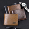 Vintage Men Leather Luxury Short Slim Male Purses Money Clip Wallet dark brown s