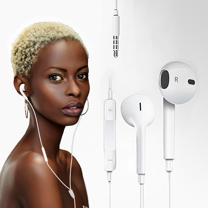 In-Ear Headphone Earphones Earpods with Volume Control For Mobile Android and Iphone white Android / white