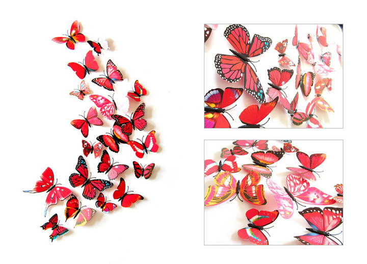 12pcs/set New Arrival Colorful 3D Butterfly Wall Stickers Party Wedding Decor DIY Home Decorations red 12pcs / set
