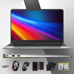 Laptop computer Quad Core ultra-thin laptops 15.6 inch silver slim smart notebook 4G+64G 4G+64GB 15.6 inch