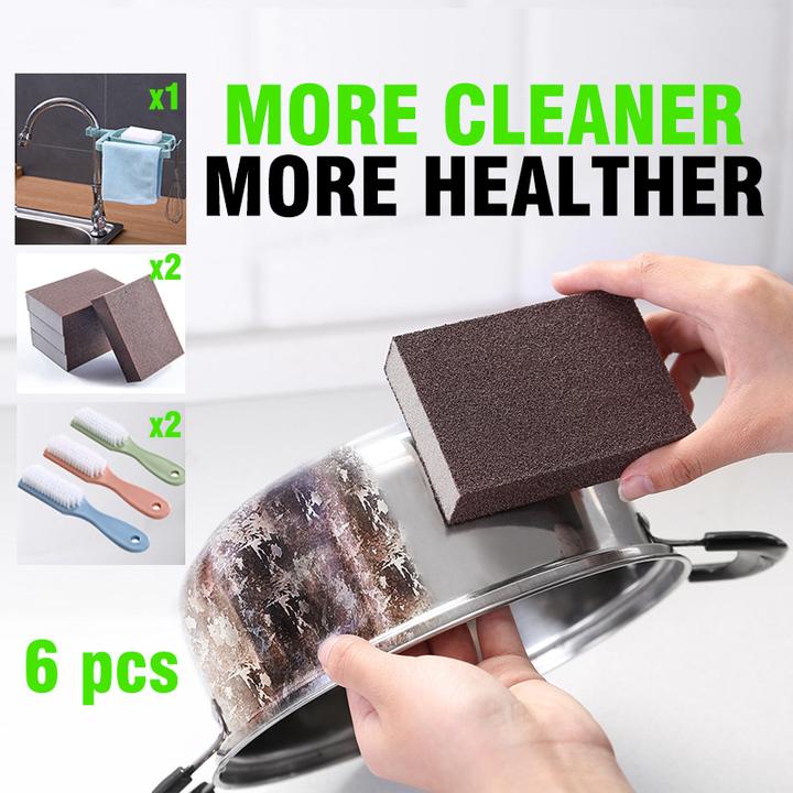 6pcs Kitchen Cleaning Tool Set Nano Emery Magic Wipe Spongex2/Brushx2/Leachate Rack x1 green(6 in 1) Rack x1+brush x3+Sponge x2