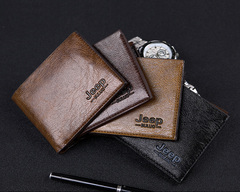 Vintage Men Leather Luxury Short Slim Male Purses Money Clip Wallet black s