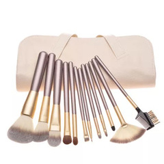 24&12pcs/Set Makeup Brush Powder Brush/Eye Shadow Brush/Eyebrow Brush/Lip Brush Makeup Beauty beige(12pcs)