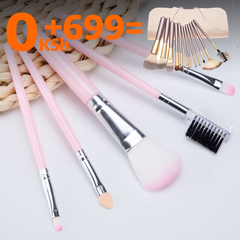 Makeup Brush 5 PCS Foundation Brush eye Shadow Brush Eyebrow comb blush brush eye shadow stick pink