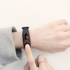 led watch woman man men watches silicone electronic WRISTWATCH wristband seven colors touchscreen S black