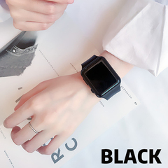 led watch woman man men watches silicone electronic WRISTWATCH wristband seven colors touchscreen L+wristband Bx2 black